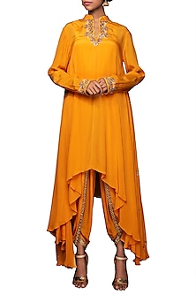 Lilly Ochre Embroidered Tunic With Dhoti Pants by Nikasha