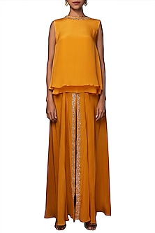 Lilly Ochre Embroidered Top With Sharara Pants by Nikasha