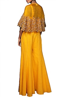 Lilly Ochre Embroidered Cape With Yellow Sharara Pants by Nikasha