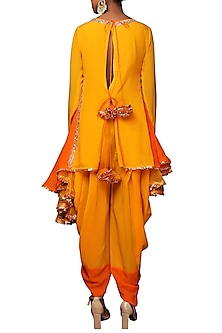 Haldi Yellow Embroidered Tunic With Dhoti Pants by Nikasha