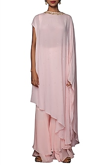 Soft Pink Embroidered Kaftan With Sharara Pants by Nikasha
