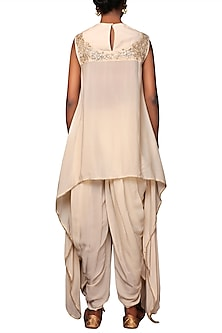Caramel Embroidered Asymmetrical Tunic With Dhoti Pants by Nikasha