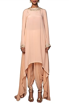 Blush Pink Embroidered Asymmetrical Tunic With Dhoti Pants by Nikasha