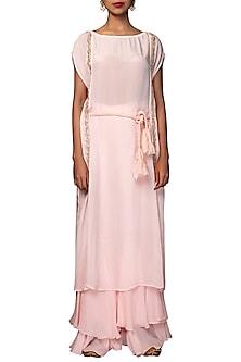 Soft Pink Embroidered Kaftan With Layered Sharara Pants by Nikasha