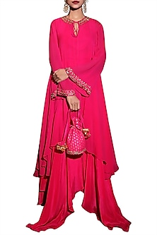 Rani Pink Embroidered Tunic With Pants by Nikasha