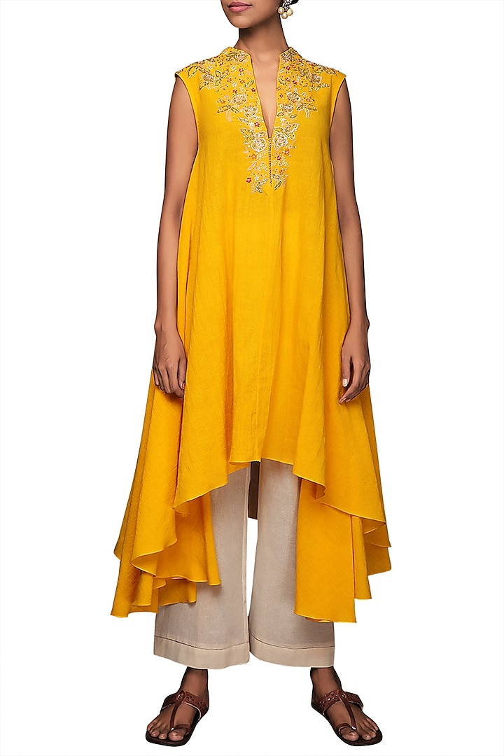Yellow Embroidered Tunic With Cropped Pants by Nikasha