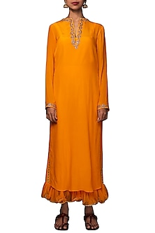 Lilly Ochre Embroidered Kurta With Cropped Pants by Nikasha