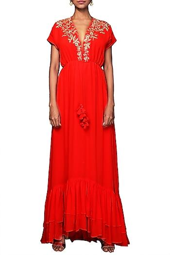 Coral Embroidered Kaftan Dress by Nikasha