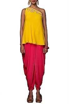 Yellow Embroidered Top With Rani Pink Dhoti Pants by Nikasha