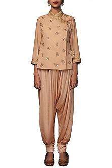 Caramel Embroidered Angrakha Top With Harem Pants by Nikasha