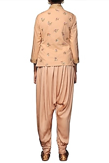 Caramel Embroidered Angrakha Top With Harem Pants by Nikasha