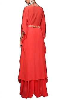 Fuchsia Pink Embroidered Kaftan With Sharara Pants & Belt by Nikasha
