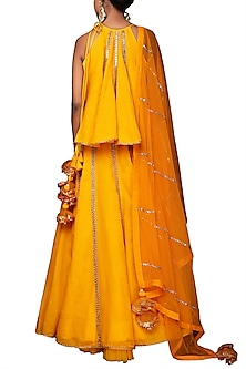 Yellow Embroidered Lehenga Set by Nikasha