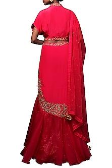 Rani Pink Embroidered Lehenga Set by Nikasha