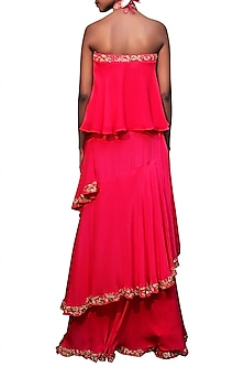Rani Pink Embroidered Lehenga Skirt With Off Shoulder Top by Nikasha