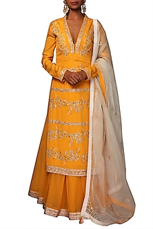 Lily Ochre Embroidered Kurta Set by Nikasha