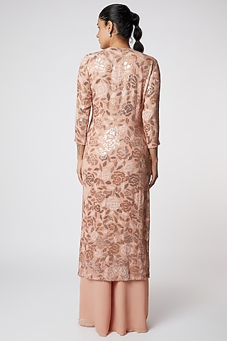 Blush Pink Embroidered Kurta Set by Nakul Sen
