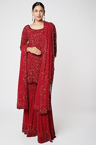 Red Embroidered Sharara Set by Nakul Sen