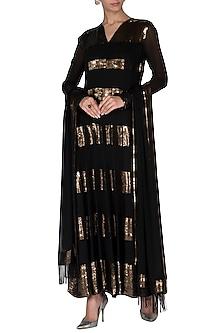 Black & Gold Sequins Anarkali Set by Nakul Sen