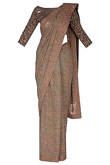 Old Pista Green Pashmina Saree Set by Nakul Sen