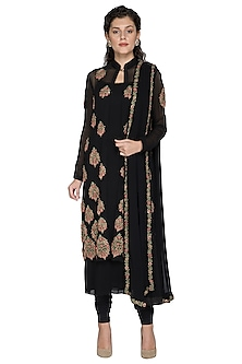 Black Resham Embroidered Jacket Set by Nakul Sen