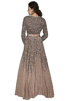 Brown Embroidered Lehenga Set by Nakul Sen