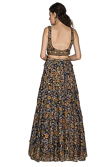 Midnight Blue Embroidered Lehenga Set by Nakul Sen