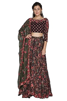 Coffee Brown Embellished Lehenga Set by Nakul Sen