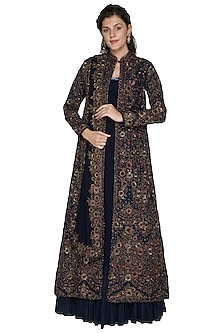 Midnight Blue Embroidered Jacket Lehenga Set by Nakul Sen