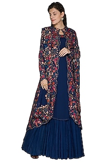 Navy Blue Embellished Jacket Lehenga Set by Nakul Sen