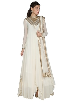 Ivory Embellished Anarkali Set by Nakul Sen