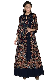 Midnight Blue Embellished Kurta Lehenga Set by Nakul Sen