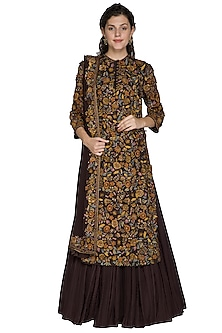 Coffee Brown Embellished Kurta Skirt Set by Nakul Sen