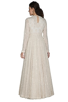Ivory Mirror Embellished Anarkali Set by Nakul Sen