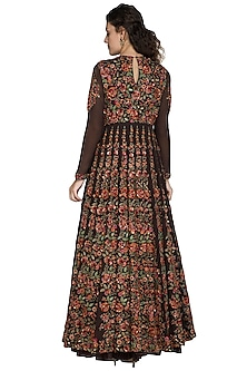Coffee Brown Leaf Embellished Anarkali Set by Nakul Sen
