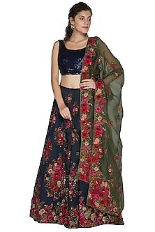 Midnight Blue Thread Embroidered Lehenga Set by Nakul Sen