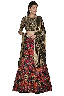 Green Embellished Ikat Lehenga Set by Nakul Sen