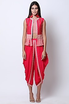 Rose Red Embroidered Printed Waistcoat With Crop Top & Pants by Nikasha