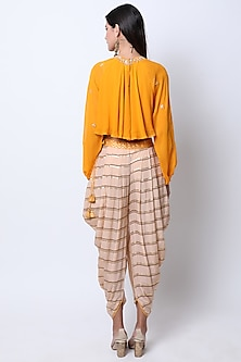 Haldi Yellow Embroidered Crop Top With Printed Dhoti Pants by Nikasha