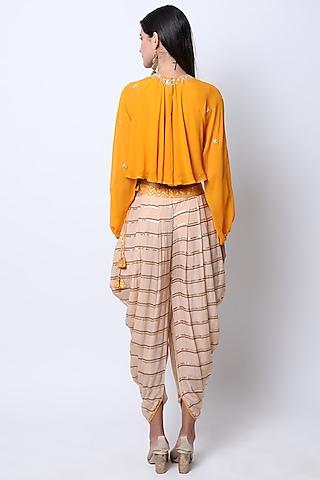 Haldi Yellow Embroidered Crop Top With Printed Dhoti Pants by Nikasha