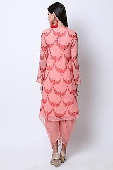 Vintage Rose Peach Embroidered & Printed Kurta With Pants by Nikasha
