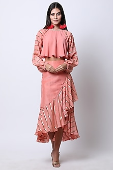Vintage Rose Peach Printed Wrap Skirt With Embroidered Crop Top by Nikasha