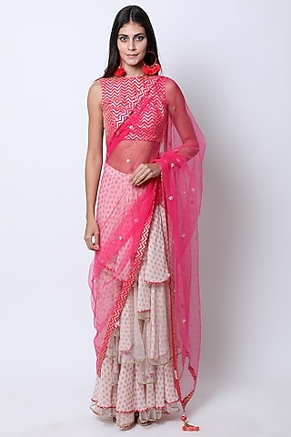 Rani Pink & Nude Embroidered Printed Pre-Stitched Saree Set by Nikasha