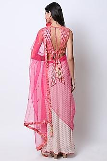 Rani Pink & Nude Embroidered Printed Pre-Stitched Saree Set by Nikasha