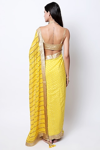 Yellow Embroidered & Printed Saree Set by Nikasha