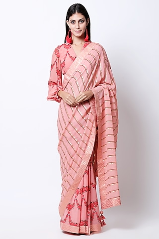 Vintage Rose Peach Embellished & Printed Saree Set by Nikasha