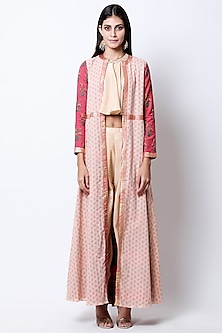 Light Tobacco Beige Embellished Top With Pants & Printed Jacket by Nikasha