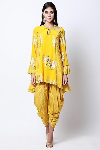Yellow Printed Asymmetric Tunic With Dhoti Pants by Nikasha