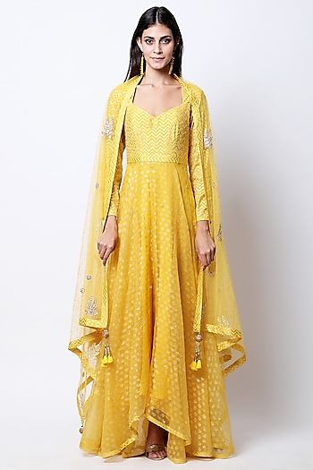 Yellow Embroidered & Printed Kurta Set by Nikasha