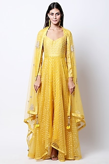 Yellow Embroidered & Printed Kurta Set by Nikasha